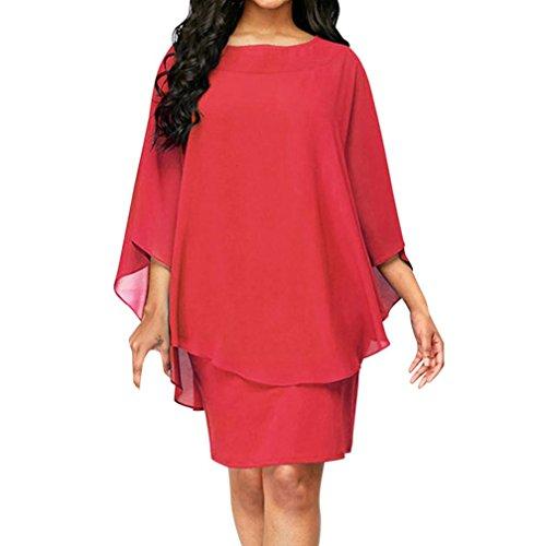 QUINTRA Damen Chiffon Party Clubwear Cocktailkleider Sommerkleid Aufflackern-Hülse Knielänge Kleid