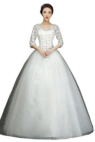 TOSKANA BRAUT Weiss Neu Spitze Steine Paillette Hochzeitskleider ...