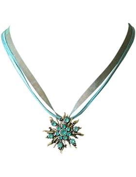 Trachtenschmuck Dirndl Kristall Trachtenkette mit Designer Edelweiss in Aquamarin blau türkis an Bänder-Collier