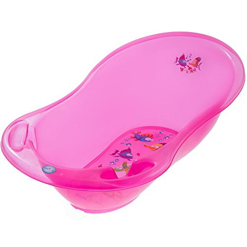 Small New Born Baby Bath 86cm Transparent For Baby Girl or Boy + Thermometer (Pink)