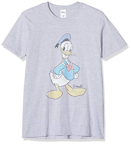 Disney donald duck classic t-shirt, grigio (heather grey 003), medium uomo