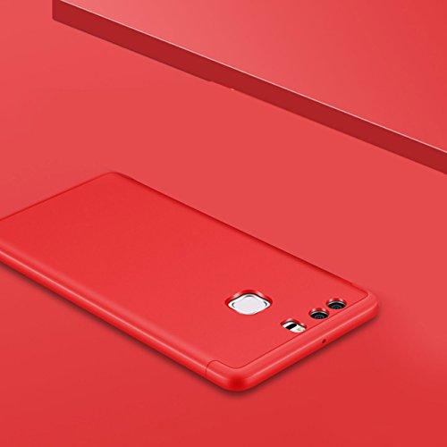 Huawei P9 Hülle, 3 in 1 Ultra Dünner PC Harte Case 360 Grad Ganzkörper Schützend Anti-Kratzer Schutzhülle Vollschutz Hülle für Huawei P9 Fall Premium mattierte Schutzharte Komplettschutz Handytasche R Rot