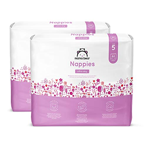 Amazon Brand - Mama Bear Ultra Dry Nappies - Size 5  (10-16 kg) - With channels- 160 nappies (2 Packs x 80)