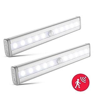 LED Schrankbeleuchtung 2x   Batterie betrieben   Bewegungsmelder   Schranklicht   Wandlicht   Vitrinenbeleuchtung   Nachtlicht mit Bewegungssensor   2er Set