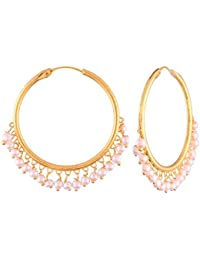 I Jewels Gold Plated Pearl Chandbali Earring for Women (E2628W)