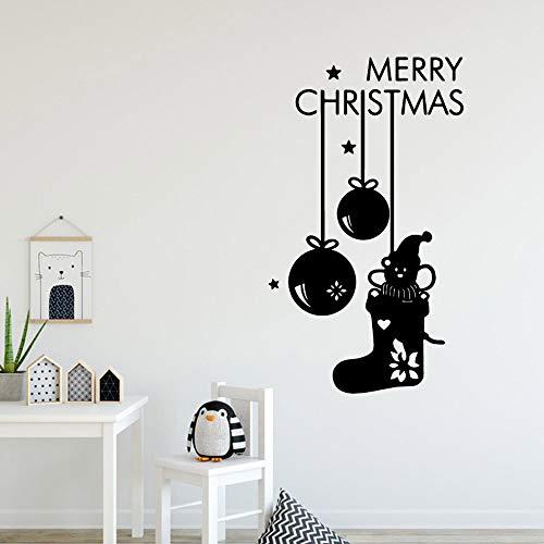 ganlanshu Feliz Navidad de Dibujos Animados Etiqueta de la Pared autoadhesiva Papel Tapiz de Arte habitación de los niños decoración Natural Decal Mural 28 cm x 48 cm