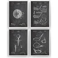 Golf Poster de Patente - Pack de 4 Láminas - Patent Póster Con Diseños Patentes Decoracion de Hogar Inventos Carteles Prints Wall Art Posters Regalos Decor Blueprint - Marco No Incluido