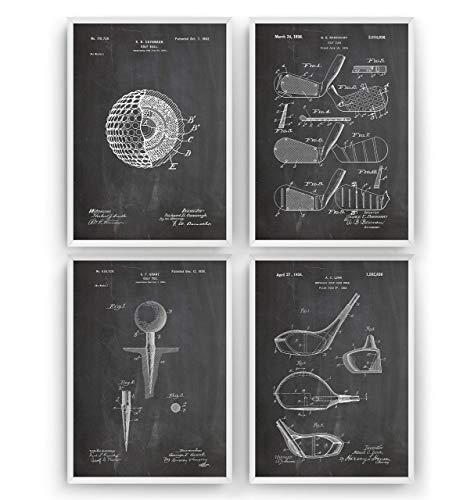 Set Of 4 Prints - Sport Jahrgang Bild Drucke Kunst Geschenke Zum Männer Frau Entwurf Dekor Vintage Art Gifts For Men Women Blueprint Decor - Rahmen Nicht Enthalten ()