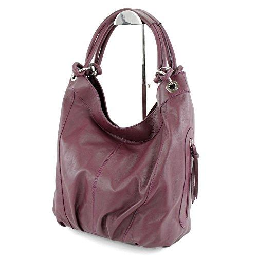 modamoda de - ital. Handtasche Damentasche Schultertasche Ledertasche Tasche Nappaleder Z18 Lilarot