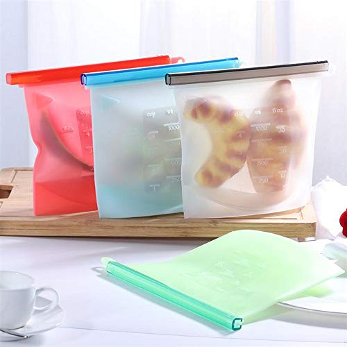 AZDSTLL 4pcs Reusable Silicone Vacuum Seal Food Fresh Bag Fruit Meat Milk Storage Containers Refrigerator Bag Ziplock Kitchen
