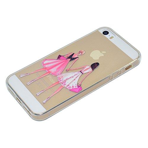 iPhone SE 5 5S Hülle, iPhone SE 5 5S Weiche flexible Silikon-Handy-Hülle ,Cozy Hut iPhone SE 5 5S Schutzhülle Case Silikon- Crystal Clear Ultra Dünn Durchsichtige Backcover Handyhülle TPU Case für iPh schöne Mädchen
