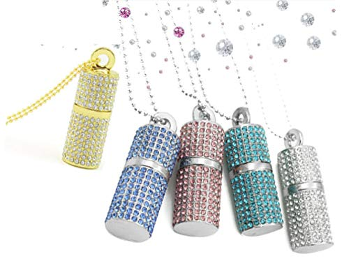 Shooo 5pcs chiavetta usb,bling rhinestone diamond crystal glitter rossetto case shining jewelry collana,32gb(mixed:gold blue pink lakeblue silver)
