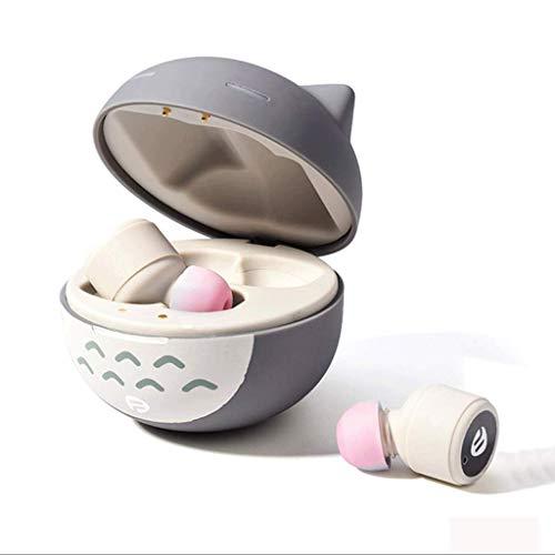(Zcx Mädchen Nette Katze Ohrhörer Drahtlose Aufladungskopfhörer Tumbler Design Cool Fun High Fidelity Sound Quality (Farbe : Gray 5.0))