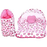 RBC RIYA R Baby Mattress With Mosquito Net & Sleeping Bag Combo 0-6 Months (0-6 Months, Pink Dot)