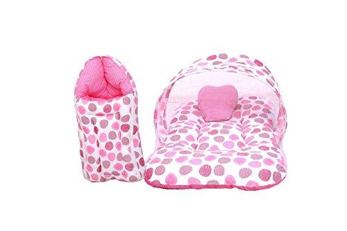 RBC RIYA R Baby Mattress With Mosquito Net & Sleeping Bag Combo 0-6 Months (0-6 Months, Pink Dot)