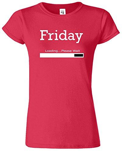 Friday Loading Dames Tshirt femmes Drôle Court Manche Tshirt Antique Rouge Cerise / Blanc Design