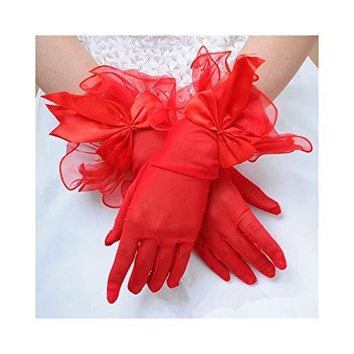 Braut Gaze Bogen Handschuhe Kleid Finger Spitze Brautkleid Kurze Handschuhe Frauen Braut Hochzeit Handschuhe Party Phantasie Kostüme (Color : Red)