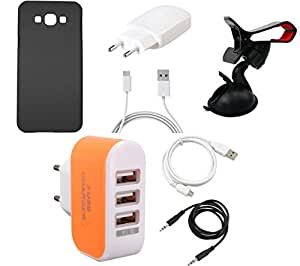 NIROSHA Cover Case Charger USB Cable Mobile Holder for Samsung Galaxy A8 - Combo