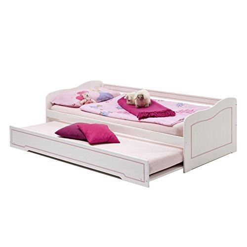 *Tandembett Funktionsbett Kojenbett Sofabett STELLA, weiß rosa, Kiefer, 90×200*