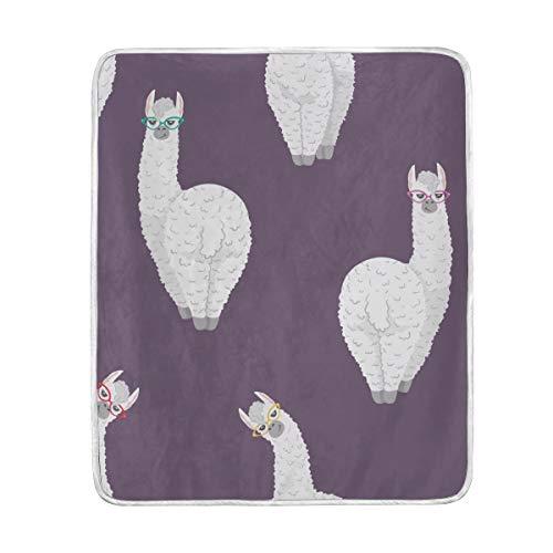 Decke für Kinder, Lama-Alpaka-Motiv, personalisiert, 3D-Druck, SAMT, Plüsch, Überwurf, Decke, Bettdecken, super weich und gemütlich, Fleece, ideal für Couch Sofa oder Bett, 127 x 60 cm
