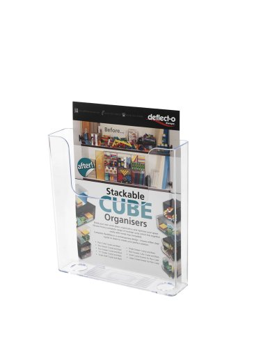 Deflecto Flatback Wand-Prospektspender ein Fach Hochformat A4 transparent