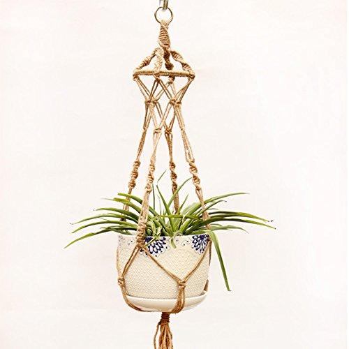 Hippicity macramé de Cintre Intérieur ou extérieur à Suspendre Panier jardinière Corde en Coton Web pour Succulente b