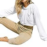 Hffan Damen Sexy Kurzer Tops Freizeit Casual Hoodie Streetwear Langarm Modisch Pullover Lose Passen Schön Coole Kapuzenpullover Shirt Weich Bequem Oberteil Shirt Sweatshirts(Weiß,Small)