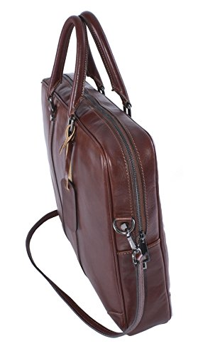 Big Handbag Shop da uomo in vera pelle borsa maniglia superiore borsa Messenger Medium Tan