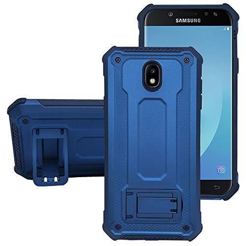 """KUAWEI Samsung Galaxy J7 2017 Hülle Rüstung Cover Dual Layer Hybrid Rüstung Series Handyhülle mit Ständer Funktion und Auto Halterung Funktion für Samsung J7 2017 J7 PRO J730 5.5\"""" (Blau+Blau)"""