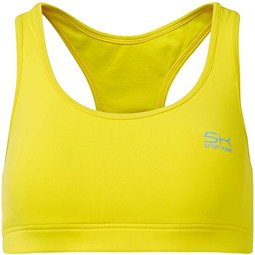 Sportkind Mädchen & Damen Sport / Tennis / Fitness BH mittlerer Halt, gelb, Gr. S