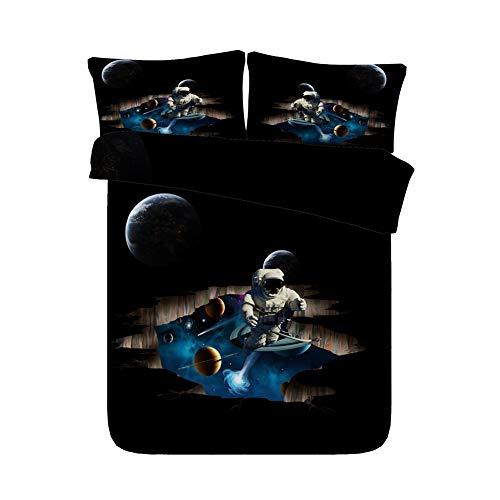 AYMAYO Bettwäsche Set Star Trek - Weltraumastronaut Muster Weiche Und Angenehme Mikrofaser Schlafkomfort - 1 Bettbezug 135 X 200 cm Mit Reißverschluss + 2 X Kissenbezüge 50 X 75cm (B,135×200cm) (Bettwäsche Trek Star)