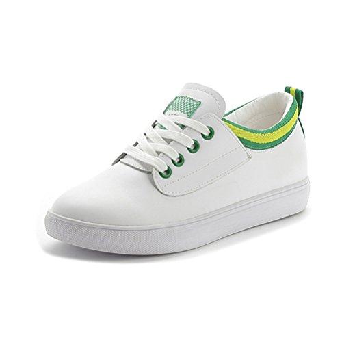 Lässige Damen Runde Zehen Schnürsenkel Kurzschaft Bunte Rand Einfache Flache Atmungsaktive Sneakers Grün