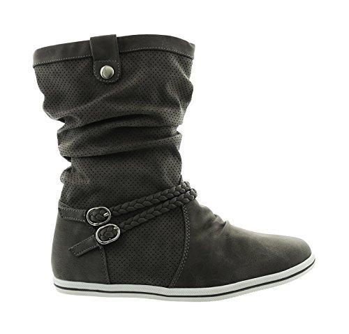 Damen Stiefeletten Stiefel Boots Flache Schlupfstiefel Schuhe GU Grau