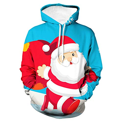 Fenverk Herren Langarm Hoodie Sweatshirt Slim Fit Sweatjacke Kapuzenpullover Baumwoll Pullover Outwear MäNner Winter Weihnachten Mit Kapuze Mantel Tops(Blau,M)