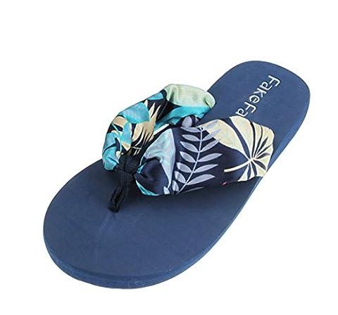 Women's Fashion Bohemian style Flip Flops Beach Slippers Satin Wedge