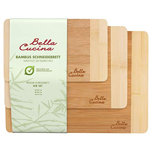 Bella Cucina Premium Schneidebrett Set | Bambus-Holz Küchenbrett | Schnittfest