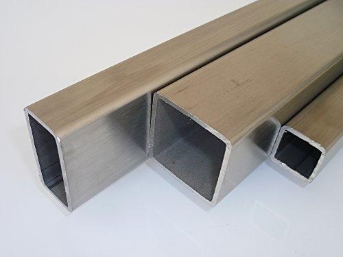 B&T Metall Edelstahl Vierkantrohr 15x15x1.5 mm V2A (1.4301) geschliffen K240 in Längen à ca. 1 mtr. (+0/-3 mm)