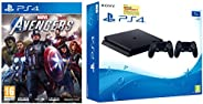 Sony PS4 1TB Slim Console with Additional Dualshock Controller (Black)&Marvel Avengers (