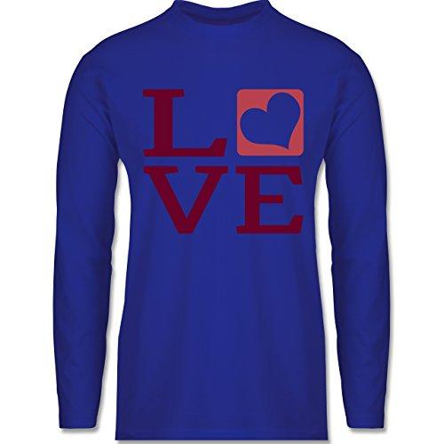 Shirtracer Valentinstag - Love Herz Typographie - Herren Langarmshirt Royalblau