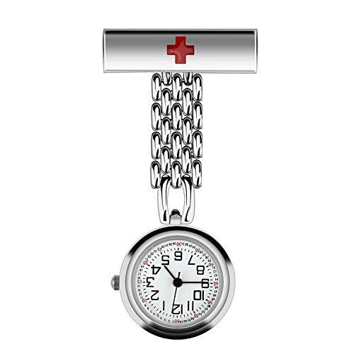 Krankenschwesteruhr Taschenuhr, CestMall Quarz Uhren Pulsuhr Kitteluhr Pflegeuhr, Schwesternuhr mit Clip für Herren Damen Doktor -