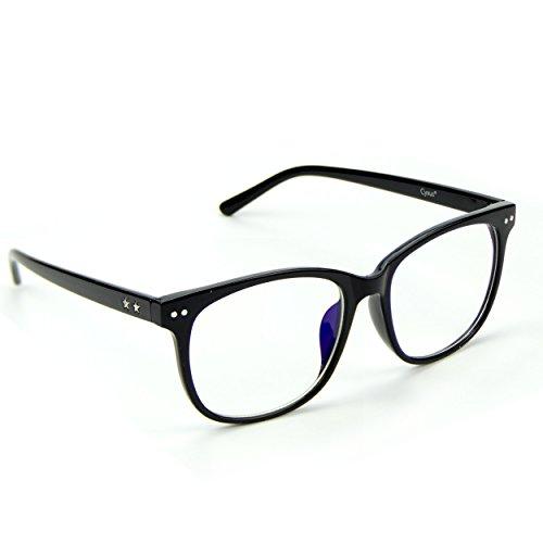 Cyxus Blaues Lichtfilter(transparente Objektiv) bessere Schlaf-Block-UVgläser, Blendschutzkopfschmerz-Augen-Dehnung, Handy-Computer-Lesebrillen, schwarzer klassischer Rahmen