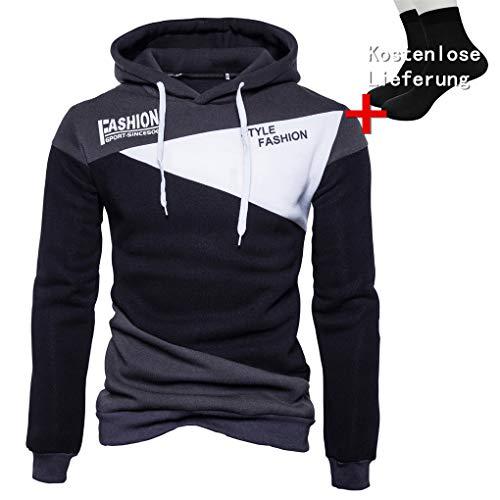 Der neue Pullover der Männer, Kaiki Mens 'Print Letter Patchwork Hoodie Kapuzen Sweatshirt Tops Jacke Mantel Outwear (M, Black)