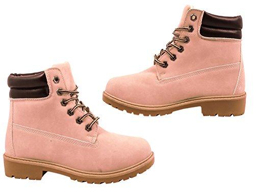 Elara Damen Stiefeletten | Profilsohle Schnürer | Worker Boots | Warm Gefüttert | chunkyrayan Pink Hamburg