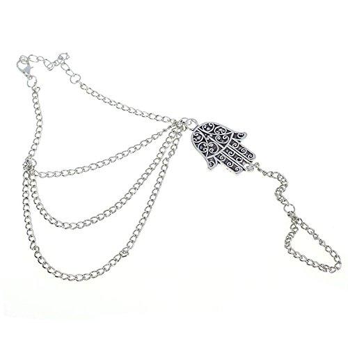 Sannysis Mode Neu Silber Hamsa Fatima - Silber-armband-finger-ring