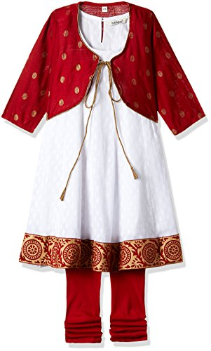 Karigari Girl's A-Line Regular Fit Cotton Salwar Suit Set (273321715 _Maroon_07Y)