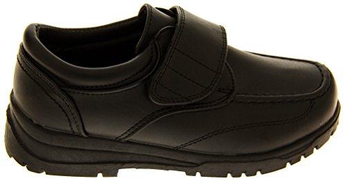 Garçon Noir Rentrée scolaire-Chaussures avec Velcro anti-éraflures pour enfant Taille 10 11 12 13 1/2 Noir - noir