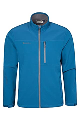 Mountain Warehouse Caledonia Men's Soft-shell Jacket - Water Resistant, Breathable, Windproof with a Bonded Lining for Extra Warmth & Comfort - Perfect for Walking Blue