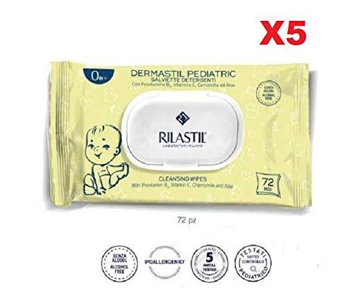 RILASTIL DERMASTIL Pediatric SALVIETTE SALVIETTINE DETERGENTI 0M+ 72 Pezzi 5 Confezioni