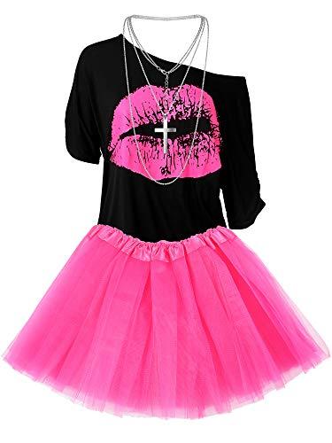 Damen 80er Jahre Kostüm Accessoires Set, Lippen Print T-Shirt Fashion Adult Tutu Rock Madonna Cross Halskette (M)