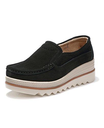 Mokassins Damen Loafers Plateau Wildleder Schlupf Halbschuhe Sneaker mit Keilabsatz Plattform Schuhe Schwarz 40